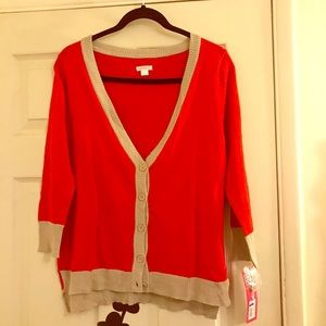 Red and Tan Cardigan
